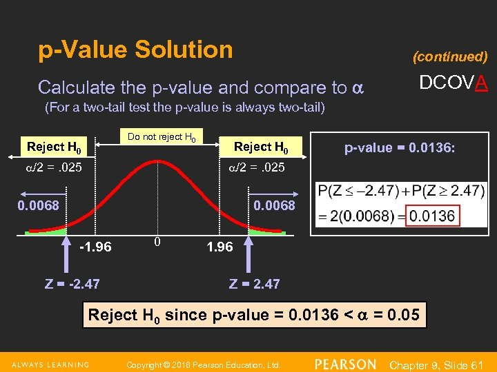 p-Value Solution (continued) Calculate the p-value and compare to DCOVA (For a two-tail test