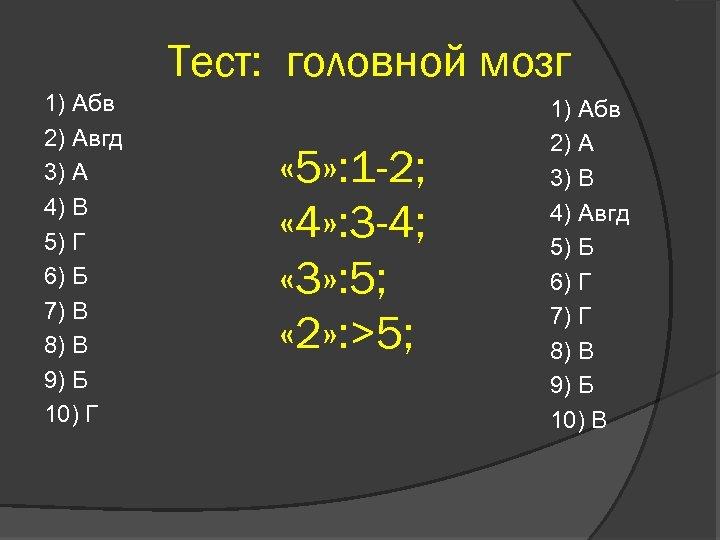 Тест: головной мозг 1) Абв 2) Авгд 3) А 4) В 5) Г 6)