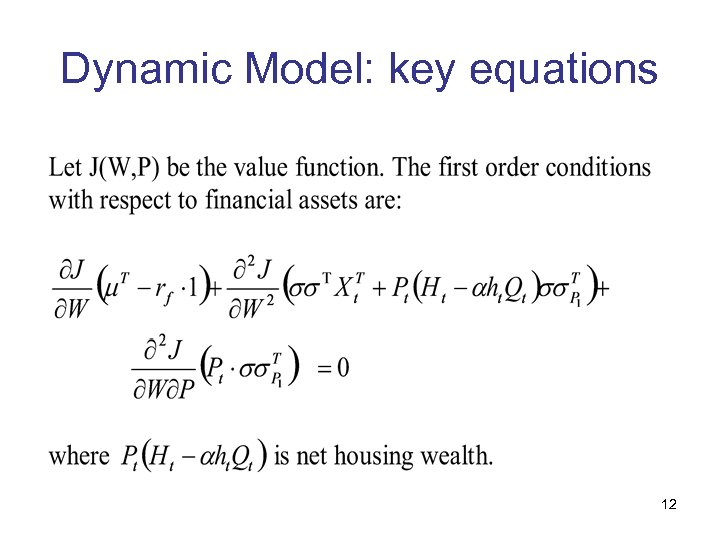 Dynamic Model: key equations 12