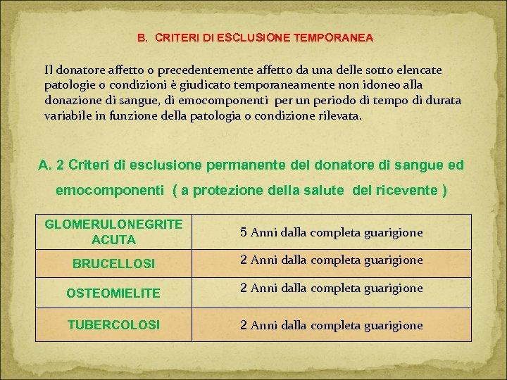 B. CRITERI DI ESCLUSIONE TEMPORANEA Il donatore affetto o precedentemente affetto da una delle