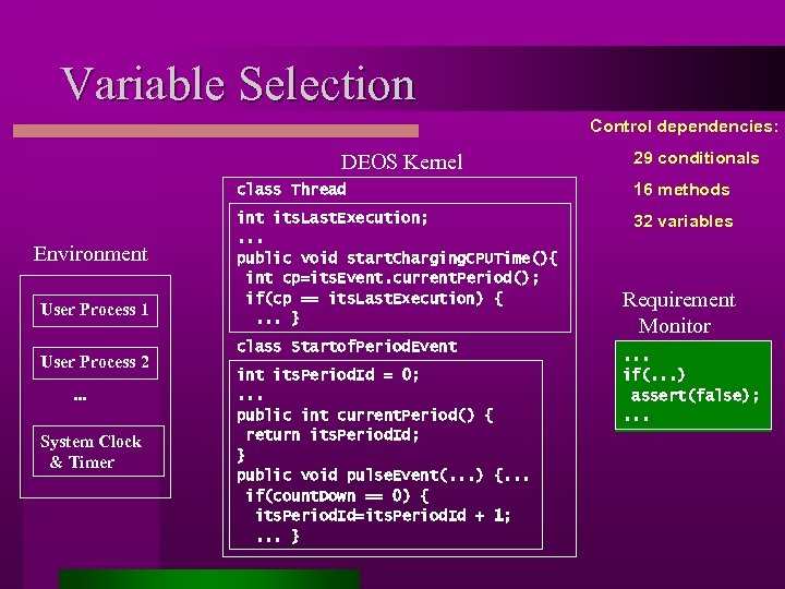 Variable Selection Control dependencies: DEOS Kernel 29 conditionals class Thread Environment User Process 1