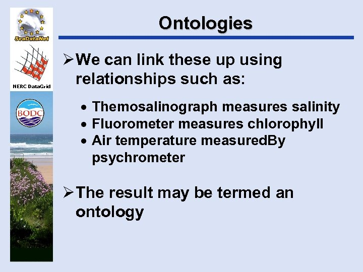 Ontologies NERC Data. Grid Ø We can link these up using relationships such as: