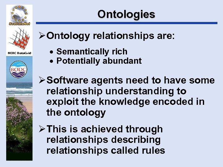Ontologies Ø Ontology relationships are: NERC Data. Grid · Semantically rich · Potentially abundant