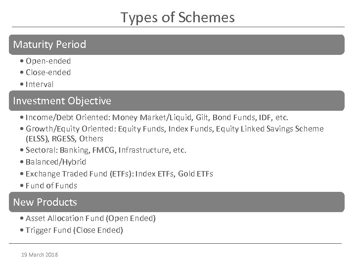 Types of Schemes Maturity Period • Open-ended • Close-ended • Interval Investment Objective •