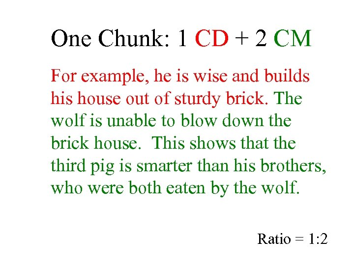 One Chunk: 1 CD + 2 CM For example, he is wise and builds