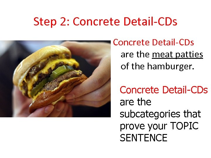 Step 2: Concrete Detail-CDs are the meat patties of the hamburger. Concrete Detail-CDs are