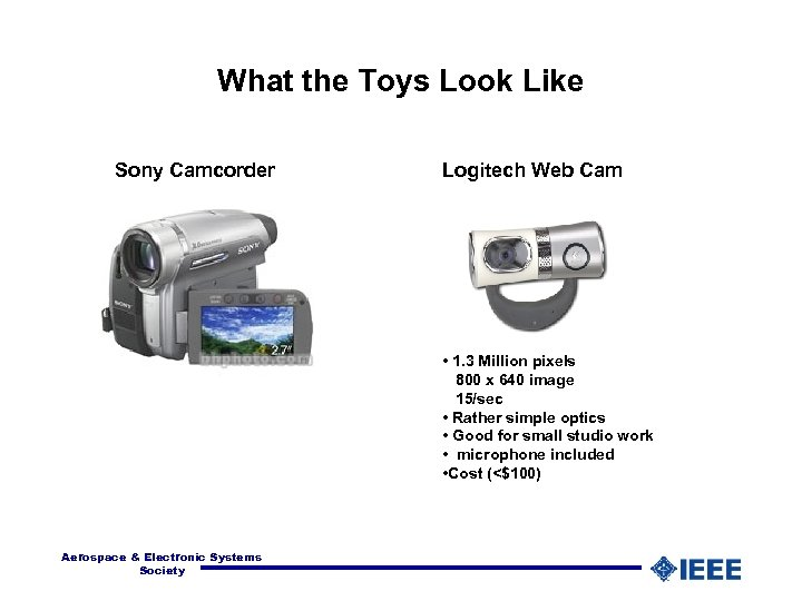 What the Toys Look Like Sony Camcorder Logitech Web Cam • 1. 3 Million