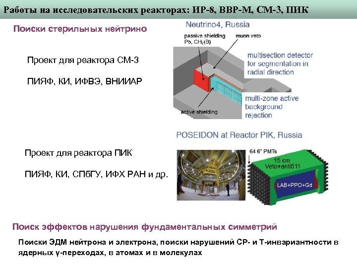 Работы на исследовательских реакторах: ИР-8, ВВР-М, СМ-3, ПИК Поиски стерильных нейтрино Проект для реактора
