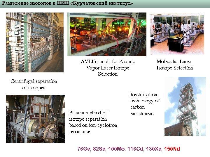 Разделение изотопов в НИЦ «Курчатовский институт» AVLIS stands for Atomic Vapor Laser Isotope Selection