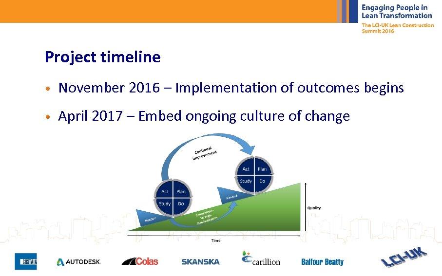 Project timeline • November 2016 – Implementation of outcomes begins • April 2017 –