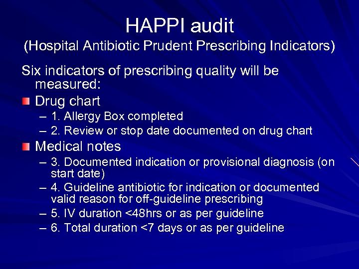 HAPPI audit (Hospital Antibiotic Prudent Prescribing Indicators) Six indicators of prescribing quality will be