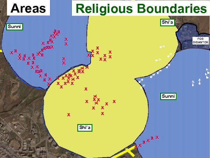 Areas Religious Boundaries Shi'a Sunni xx xx xx x x xxx x x