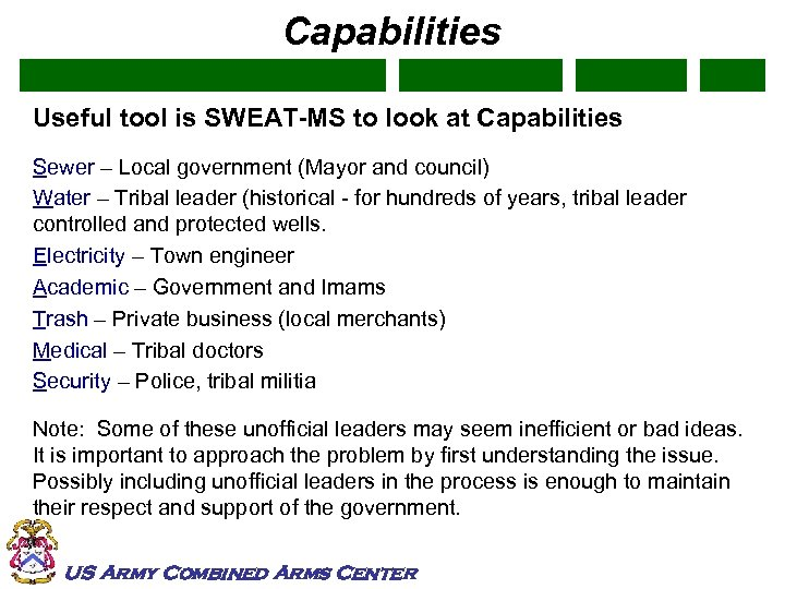 Capabilities Useful tool is SWEAT-MS to look at Capabilities Sewer – Local government (Mayor