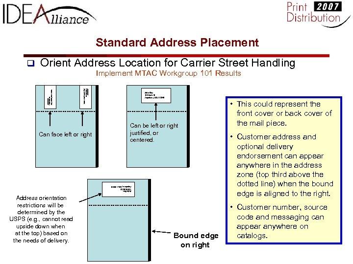 Standard Address Placement q Orient Address Location for Carrier Street Handling John Doe 123