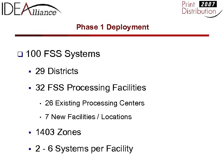 Phase 1 Deployment q 100 FSS Systems § 29 Districts § 32 FSS Processing