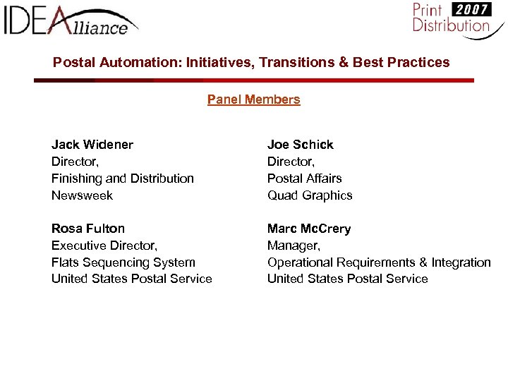 Postal Automation: Initiatives, Transitions & Best Practices Panel Members Jack Widener Director, Finishing and