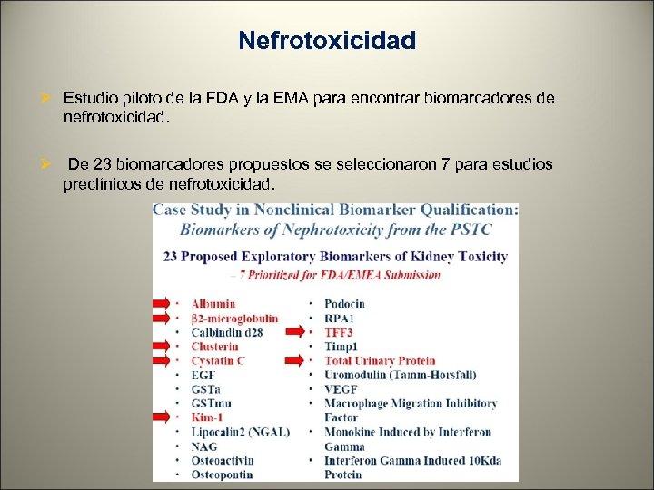 Nefrotoxicidad Ø Estudio piloto de la FDA y la EMA para encontrar biomarcadores de