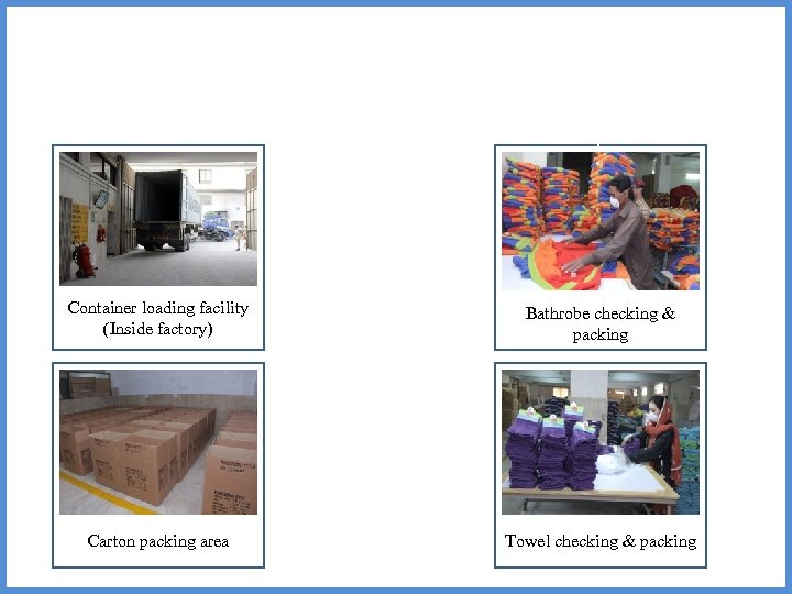 L Container loading facility Bathrobe checking & (Inside factory) packing CC CC Carton packing