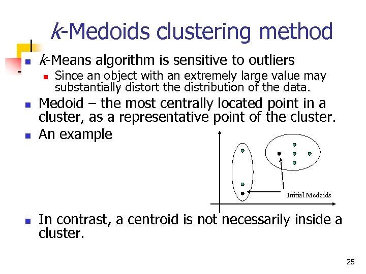 k-Medoids clustering method n k-Means algorithm is sensitive to outliers n n n Since