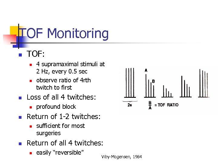 TOF Monitoring n TOF: n n n Loss of all 4 twitches: n n