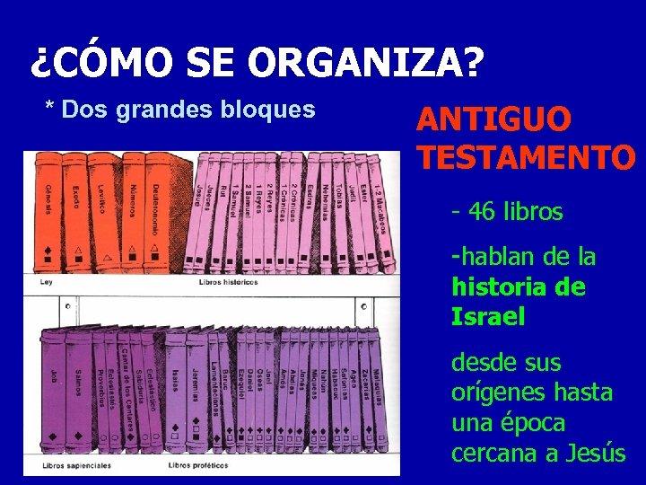 ¿CÓMO SE ORGANIZA? * Dos grandes bloques ANTIGUO TESTAMENTO - 46 libros -hablan de