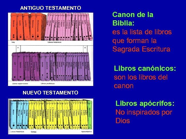 ANTIGUO TESTAMENTO NUEVO TESTAMENTO Canon de la Biblia: es la lista de libros que