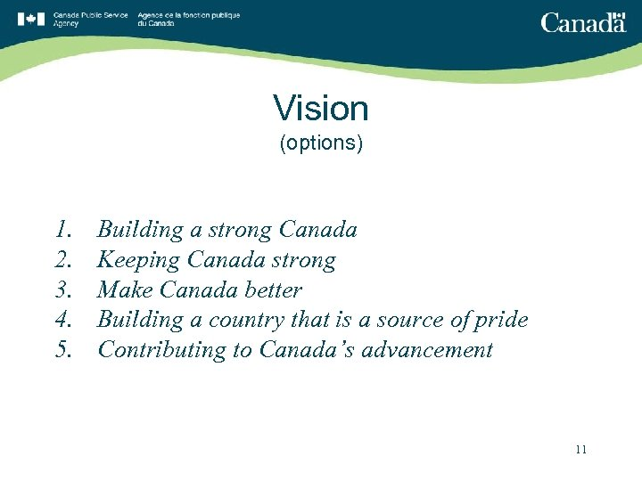 Vision (options) 1. 2. 3. 4. 5. Building a strong Canada Keeping Canada strong