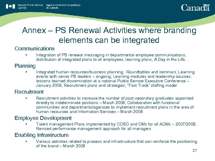 Annex – PS Renewal Activities where branding elements can be integrated Communications • Integration