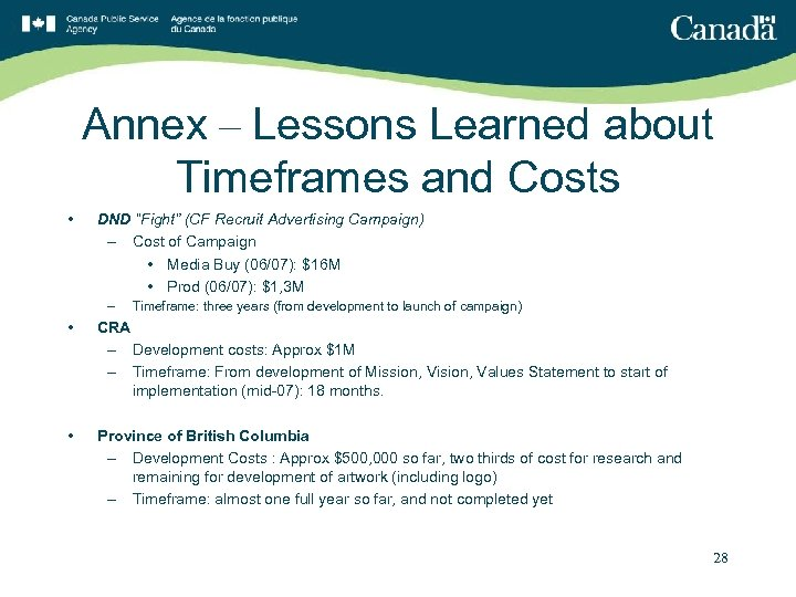 """Annex – Lessons Learned about Timeframes and Costs • DND """"Fight"""" (CF Recruit Advertising"""