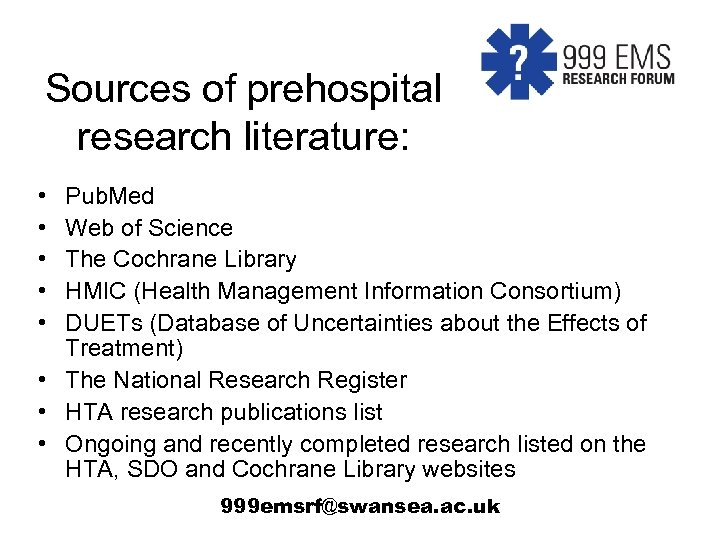 999 EMS Research Forum Prioritisation of topics for