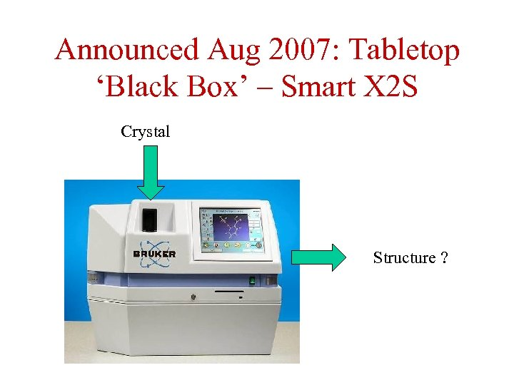 Announced Aug 2007: Tabletop 'Black Box' – Smart X 2 S Crystal Structure ?