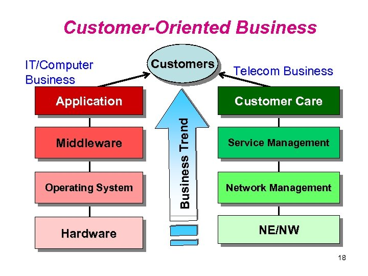 Customer-Oriented Business IT/Computer Business Customers Middleware Operating System Hardware Customer Care Bu si n