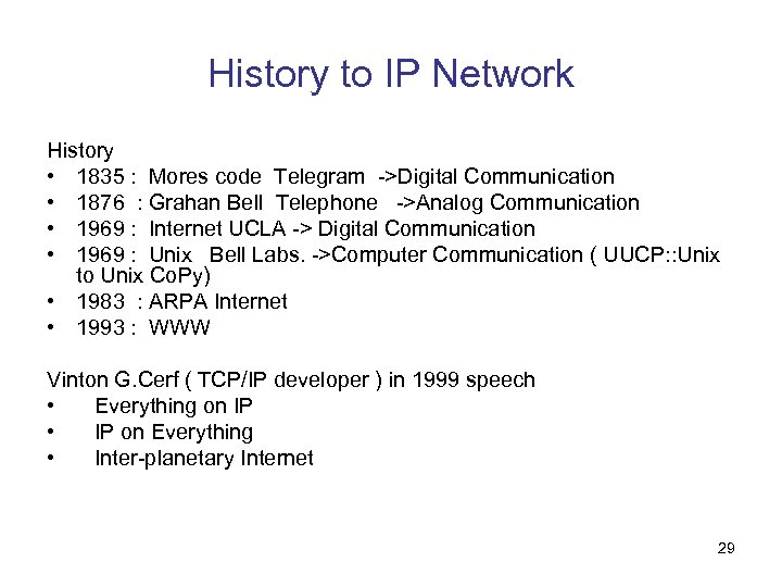 History to IP Network History • 1835 : Mores code Telegram ->Digital Communication •