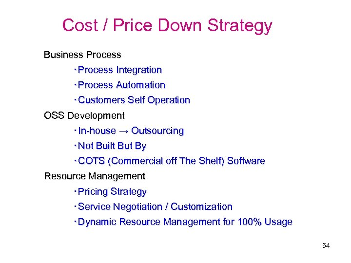 Cost / Price Down Strategy Business Process ・Process Integration ・Process Automation ・Customers Self Operation