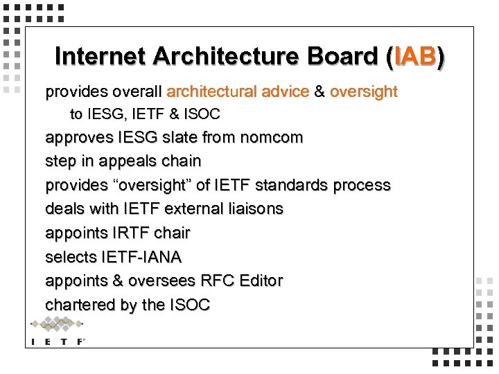Internet Architecture Board (IAB) provides overall architectural advice & oversight to IESG, IETF &