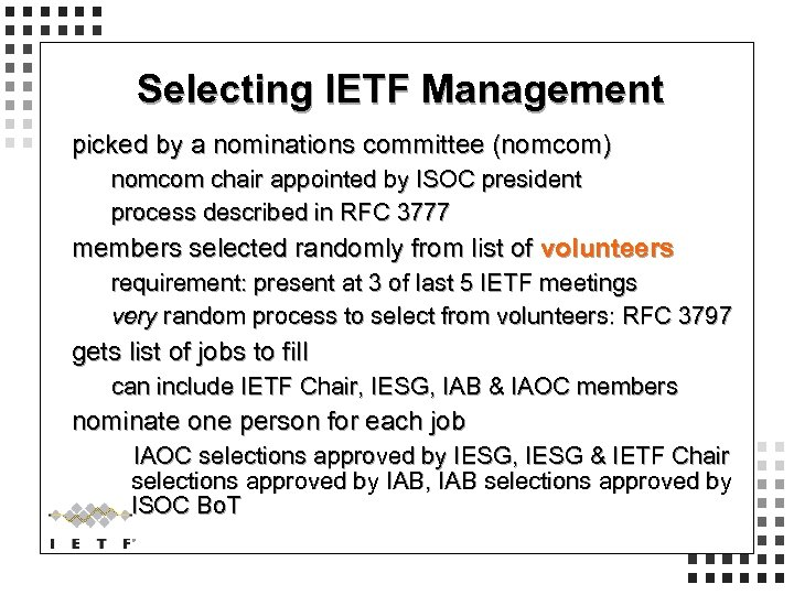 Selecting IETF Management picked by a nominations committee (nomcom) nomcom chair appointed by ISOC