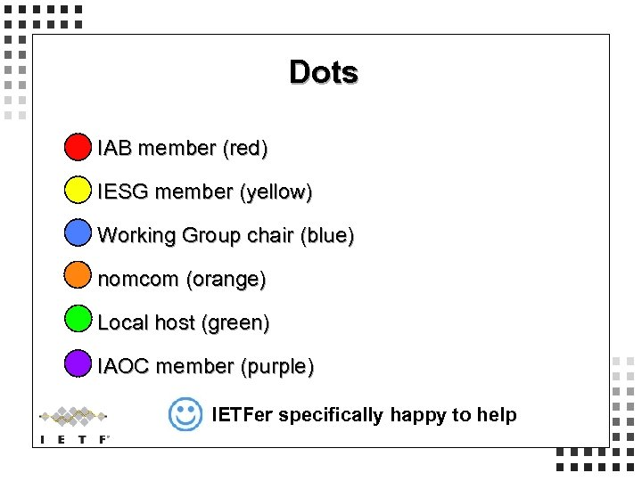 Dots IAB member (red) IESG member (yellow) Working Group chair (blue) nomcom (orange) Local