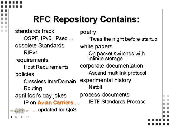 RFC Repository Contains: standards track OSPF, IPv 6, IPsec. . . obsolete Standards RIPv