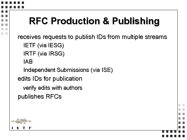 RFC Production & Publishing receives requests to publish IDs from multiple streams IETF (via