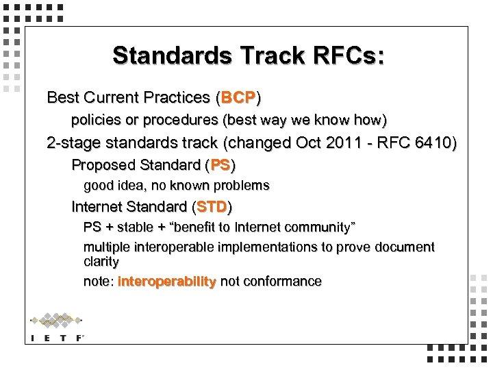 Standards Track RFCs: Best Current Practices (BCP) policies or procedures (best way we know