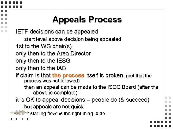Appeals Process IETF decisions can be appealed start level above decision being appealed 1