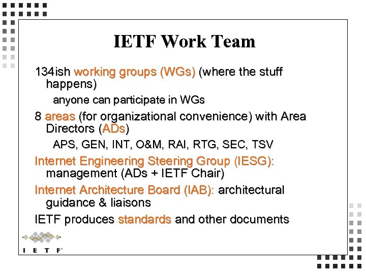 IETF Work Team 134 ish working groups (WGs) (where the stuff happens) anyone can