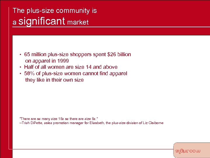 The plus-size community is a significant market • 65 million plus-size shoppers spent $26