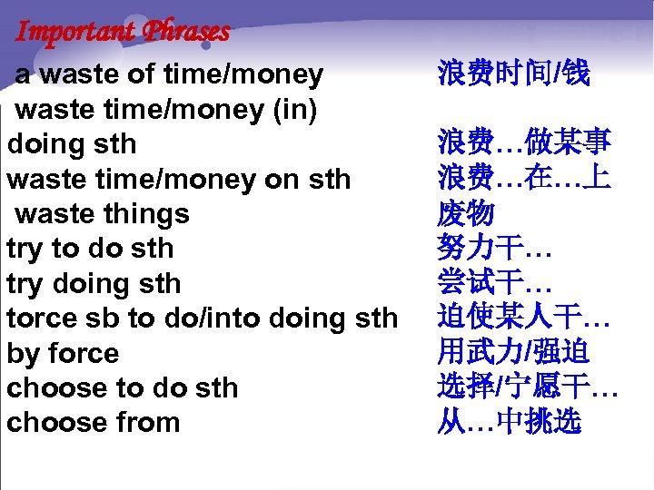 Important Phrases a waste of time/money waste time/money (in) doing sth waste time/money on