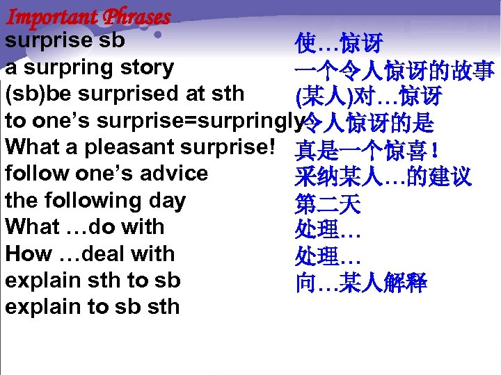 Important Phrases surprise sb 使…惊讶 a surpring story 一个令人惊讶的故事 (sb)be surprised at sth (某人)对…惊讶