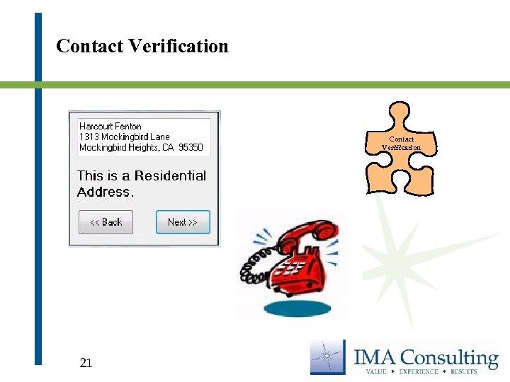 Contact Verification 21
