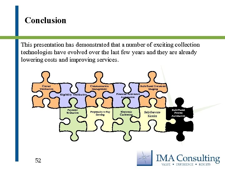 Conclusion This presentation has demonstrated that a number of exciting collection technologies have evolved