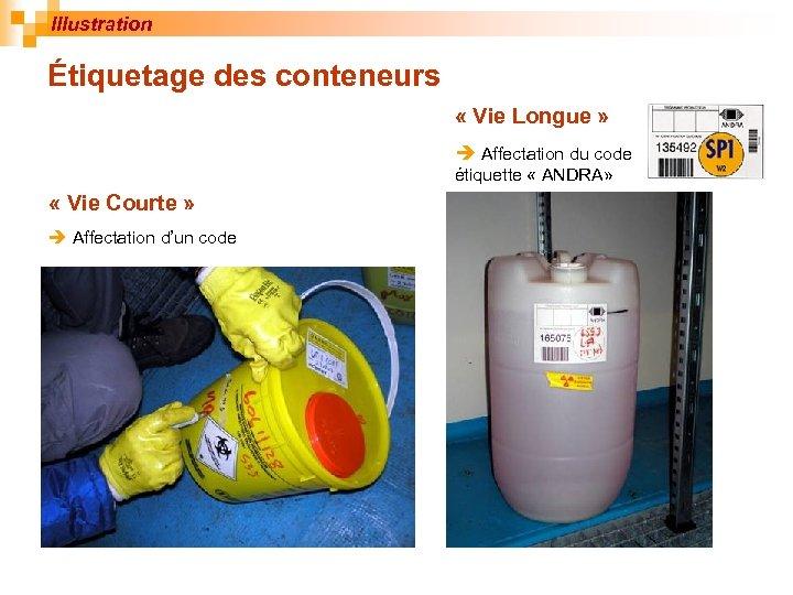 Illustration Étiquetage des conteneurs « Vie Longue » Affectation du code étiquette « ANDRA»