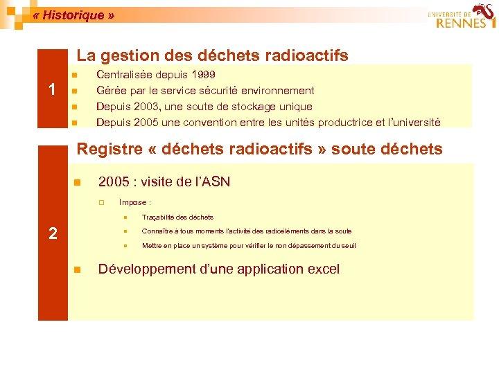 « Historique » La gestion des déchets radioactifs n 1 n n n