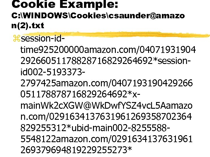 Cookie Example: C: WINDOWSCookiescsaunder@amazo n(2). txt zsession-idtime 925200000 amazon. com/04071931904 29266051178828716829264692*sessionid 002 -51933732797425 amazon.